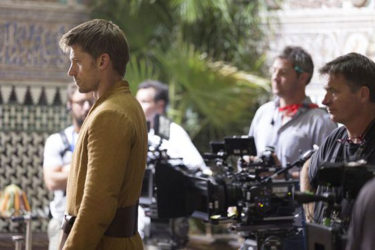 Nikolaj Coster-Waldau durante filmagem em Sevilha.