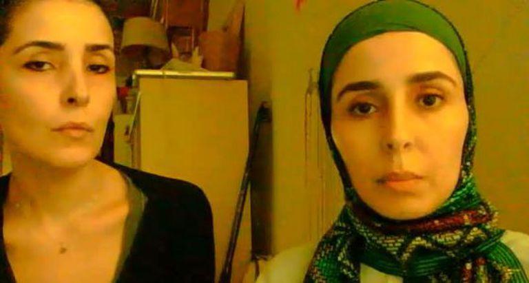 As princesas Sahar e Jawaher Bint Abdalá al Saud gravam o vídeo.
