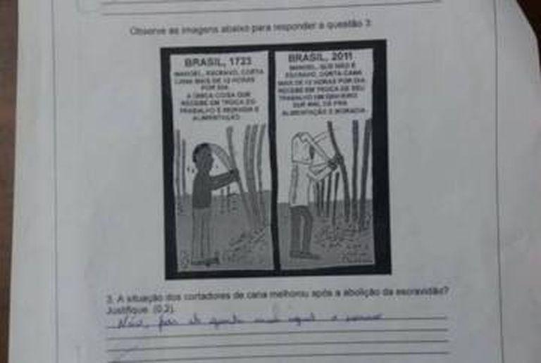 Imagem da prova divulgada no site do 'Monitor da Doutrinação', da Gazeta do Povo.