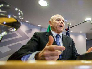 O ministro da Fazenda, Guido Mantega, nesta segunda-feira em São Paulo.