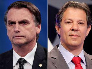 Candidatos Jair Bolsonaro (PSL) e Fernando Haddad (PT).
