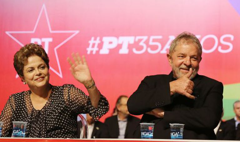Dilma e Lula no evento de aniversário de 35 anos do PT.