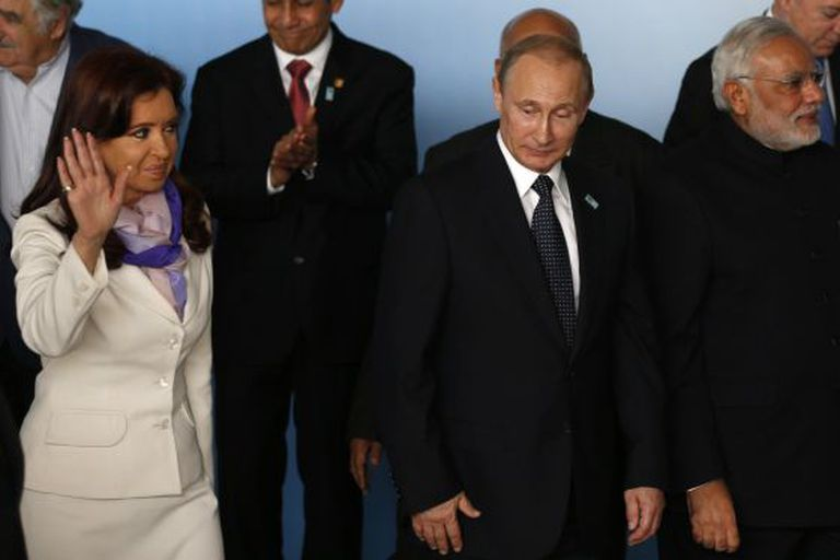 Cristina Kirchner e o russo Vladimir Putin, em Brasília.