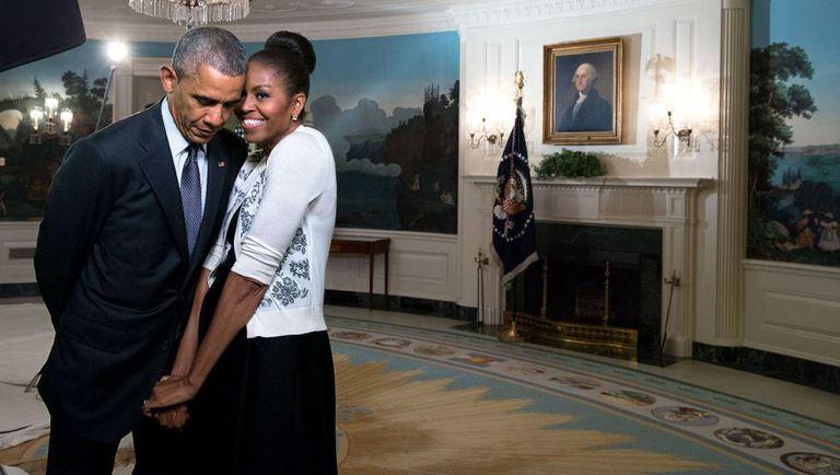 Barack e Michelle Obama na Casa Branca.