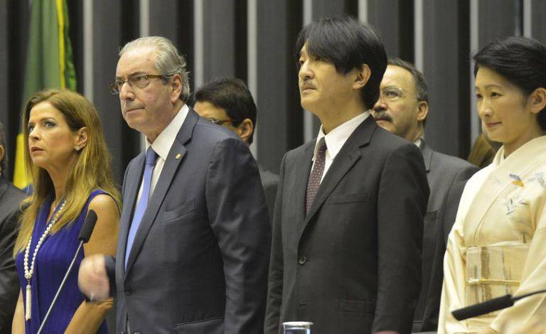 Cláudia Cruz ao lado de Cunha em evento na Câmara em novembro de 2015.
