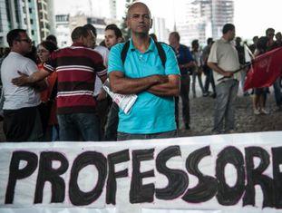 Professor da rede pública de São Paulo em greve no ano passado.