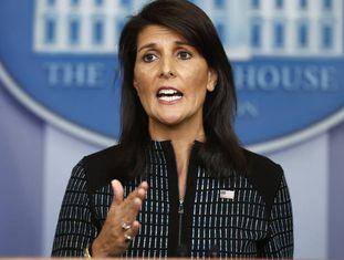 A embaixadora dos EUA na ONU, Nikki Haley, na sexta-feira na Casa Branca