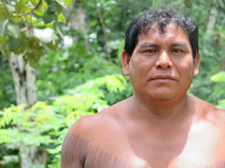 """O cacique da aldeia Nãsepotiti, Sinku Panará, foi a primeira criança que nasceu no Xingu. """"Quero que vejam que a gente voltou e conseguiu""""."""