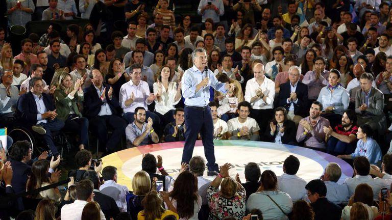 Mauricio Macri, em um ato de campanha em Buenos Aires na terça-feira, dia 17 de outubro.