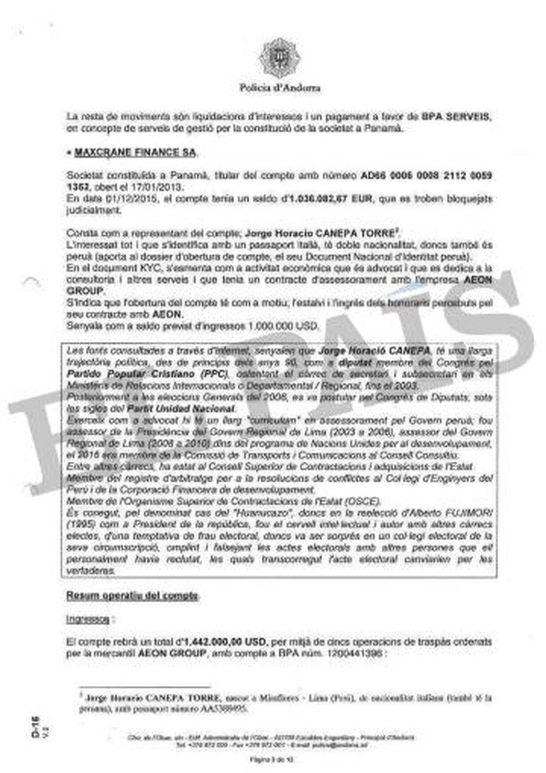 Relatório da Policia de Andorra sobre os supostos subornos da Odebrecht a altos servidores públicos do Peru.