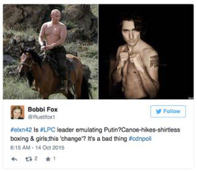 Usuário do Twitter compara o físico de Putin com o de Trudeau.