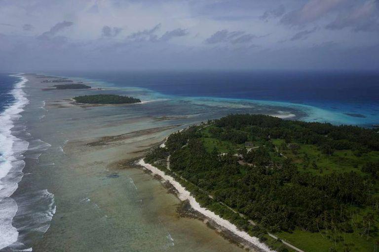 Vista parcial das 97 ilhas que formam o atol de Kwajalein.