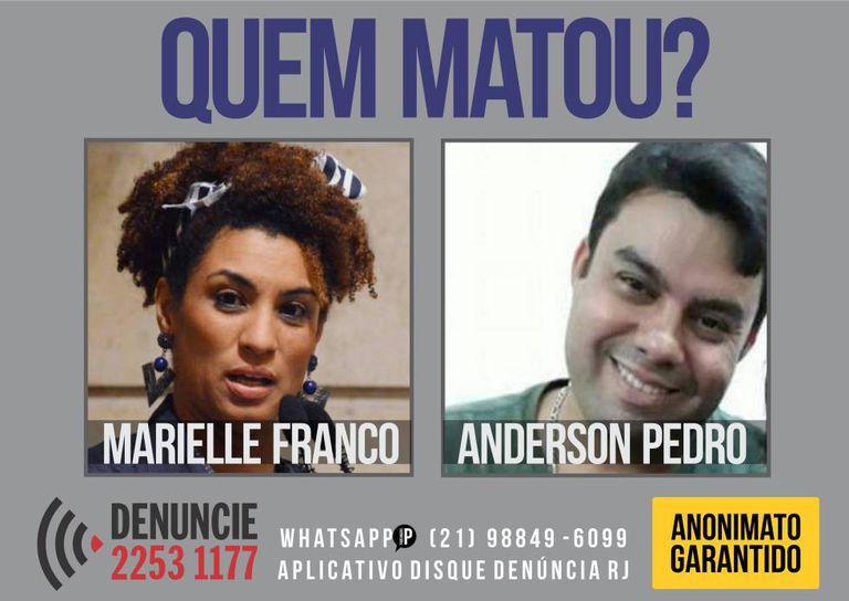 Cartaz do Disque Denúncia do Rio de Janeiro: as informações serão direcionadas à Delegacia de Homicídios da Capital– que se encontra a frente das investigações.