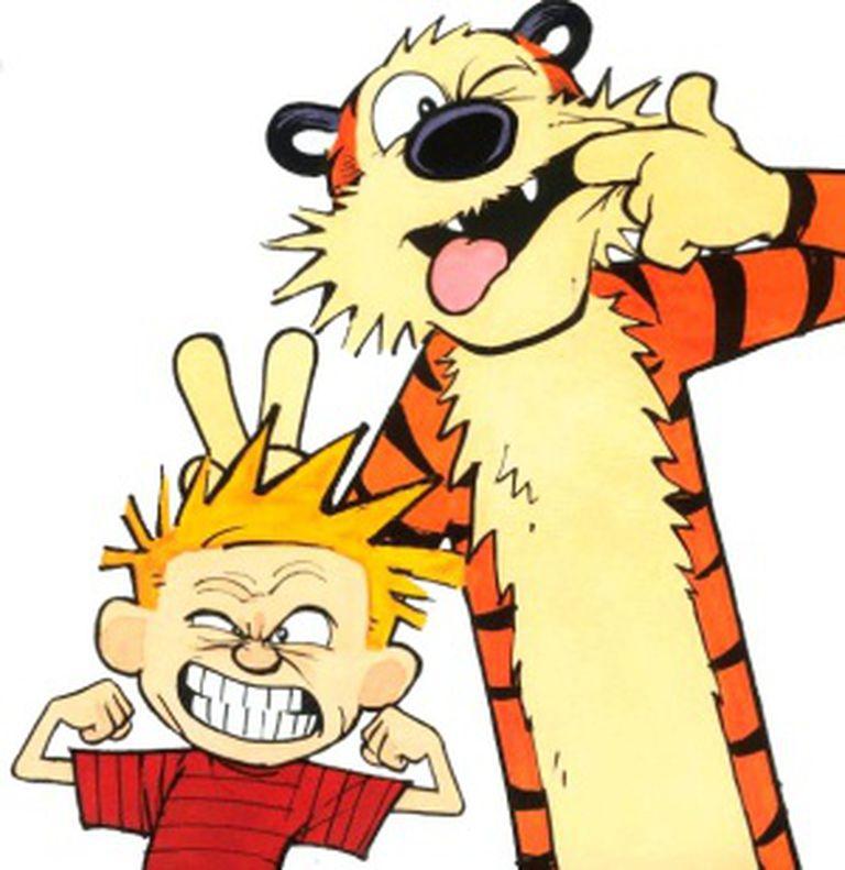 Calvin y Hobbes entrenando para su oscuro futuro