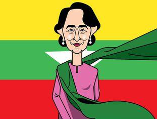 Aung San Suu Kyi, símbolo da luta democrática em Myanmar