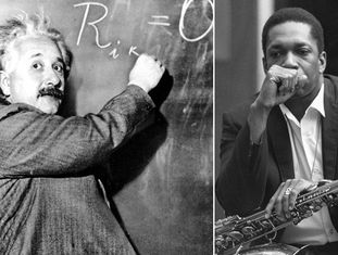 O cientista Albert Einstein, em 1931 (esquerda) e o músico de jazz John Coltrane, em 1966