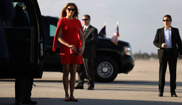 Melania Trump, no aeroporto internacional de West Palm Beach.
