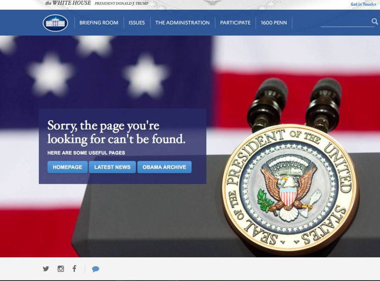 Captura de tela do link para o site em espanhol da nova Casa Branca.