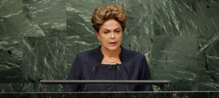 A presidenta Dilma Rousseff, neste domingo, na ONU.