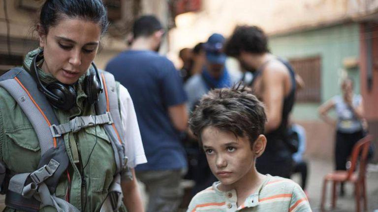 Nadine Labaki e Zain Al Rafeea, o menino protagonista de 'Cafarnaum'.