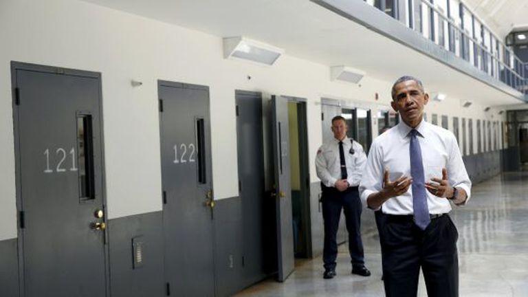 Barack Obama na prisão de El Reno, Oklahoma.