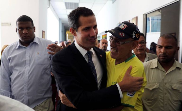 O presidente interino de Venezuela, Juan Guaidó, nesta quinta-feira em Caracas