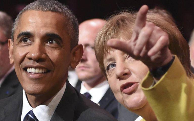 O presidente Barack Obama e a chanceler alemã Angela Merkel.