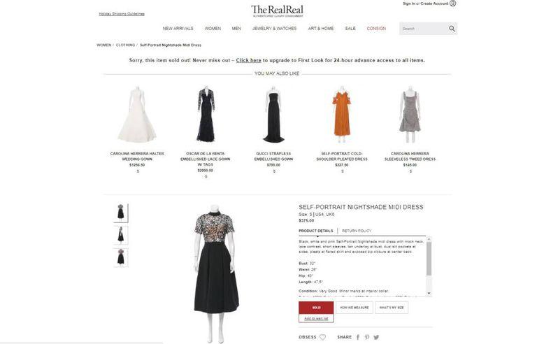 No site The RealReal, o traje escolhido por Markle para o almoço em Buckingham também aparece como esgotado.