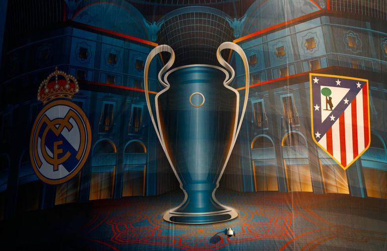 Escudos de Real Madrid e Atlético com a Champions.