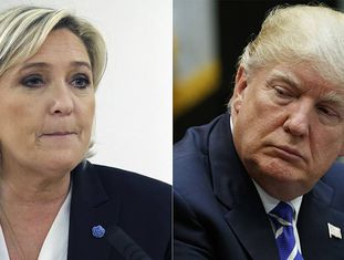 Marine Le Pen e Donald Trump, em março.