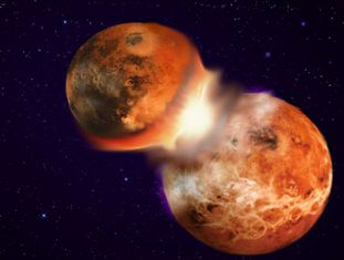 Representação do choque entre a Terra e outro planeta de composição muito parecida.