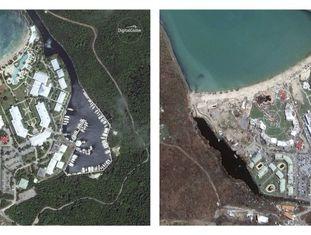 Montagem de imagens de satélite da Ilha de San Martín, em 25 de agosto de 2016 e, depois, em setembro de 2017