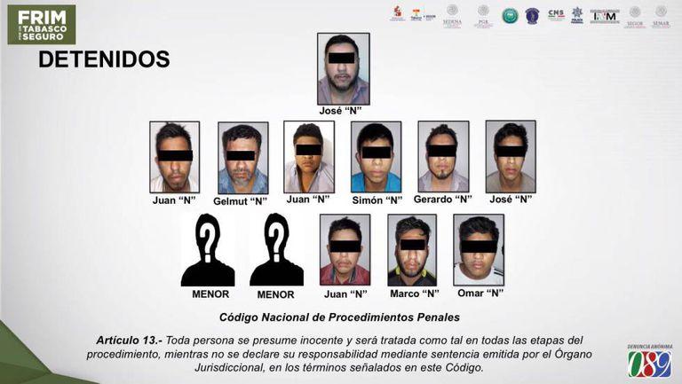 A célula do Cartel de Jalisco detida em Tabasco.
