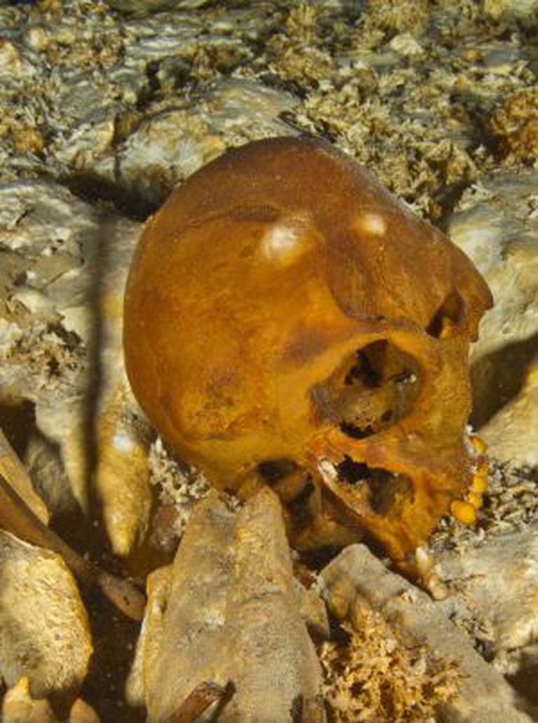 O crânio de Naia no fundo da gruta.