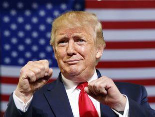 O presidente Donald Trump em um comício em Greenville, Carolina do Norte.