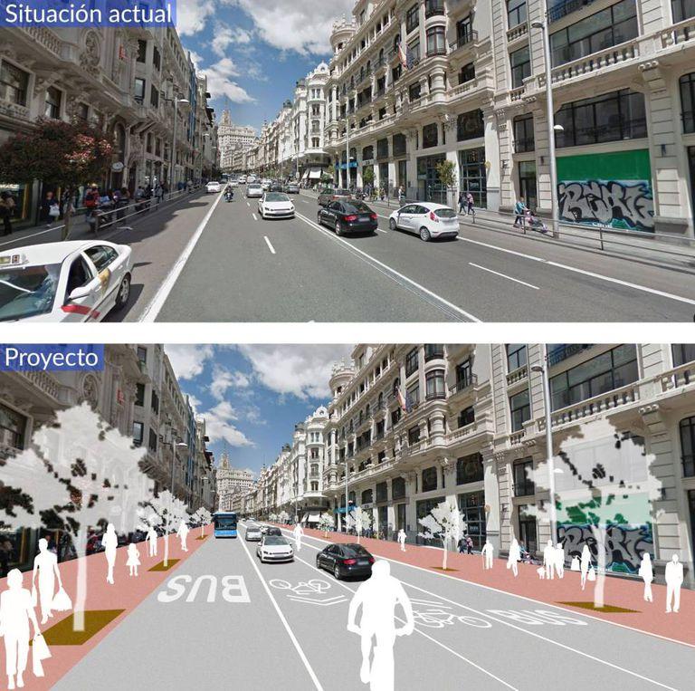 Projeto para a Gran Vía a partir da rua de Alcalá.