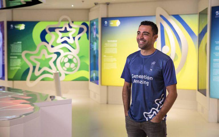 Xavi Hernández, durante um evento do Generation Amazing, programa dos organizadores da Copa do Catar.