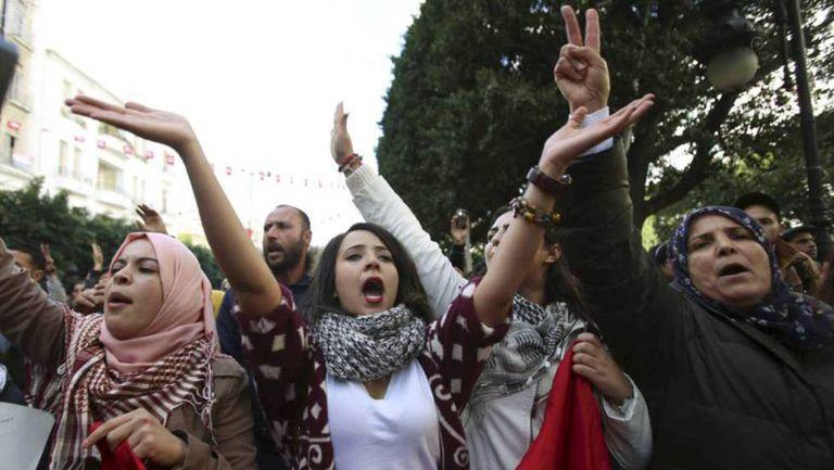 Uma manifestação de mulheres contra a discriminação na Tunísia, em 2016.