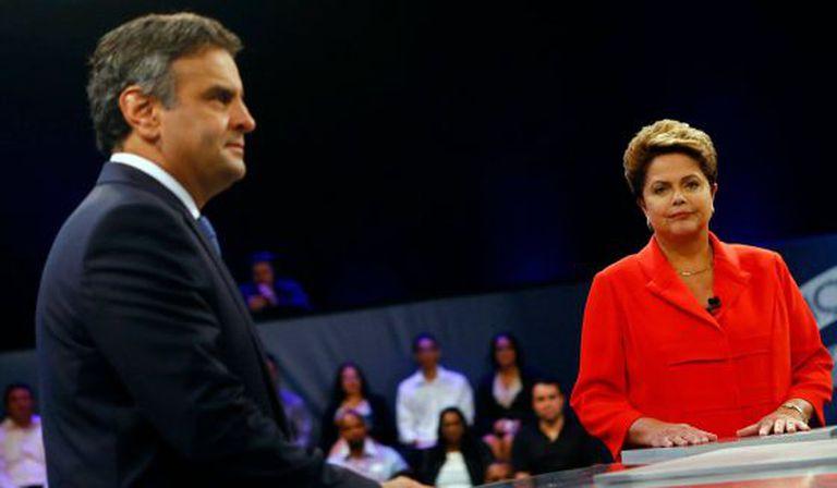 Aécio e Dilma no último debate na TV.