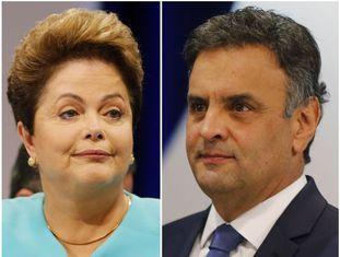 Dilma e Aécio, durante o debate no SBT.