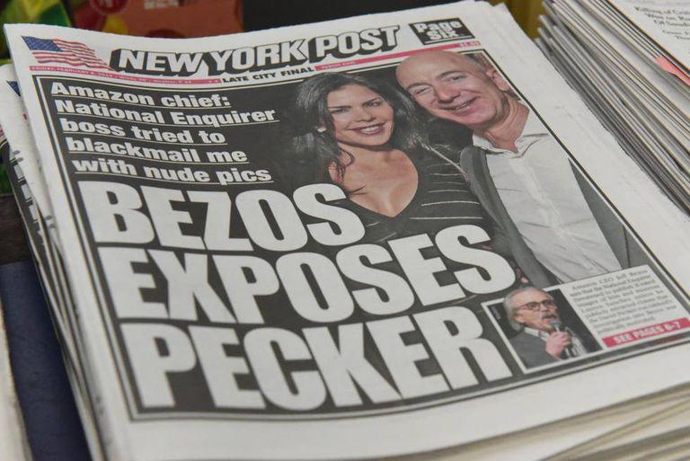 Capa do 'New York Post' sobre a polêmica entre Bezos e Pecker.