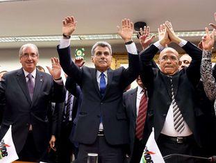 Eduardo Cunha, Romero Juca e Eliseu Padilha, na convenção do PMDB.