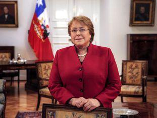 Michele Bachelet no Palácio da Moeda, em Santiago.