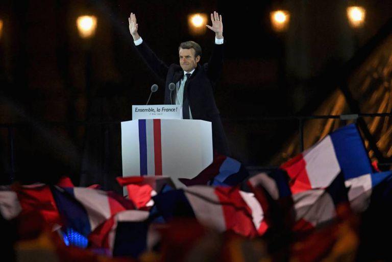 Emmanuel Macron, durante seu discurso de vitória neste domingo.