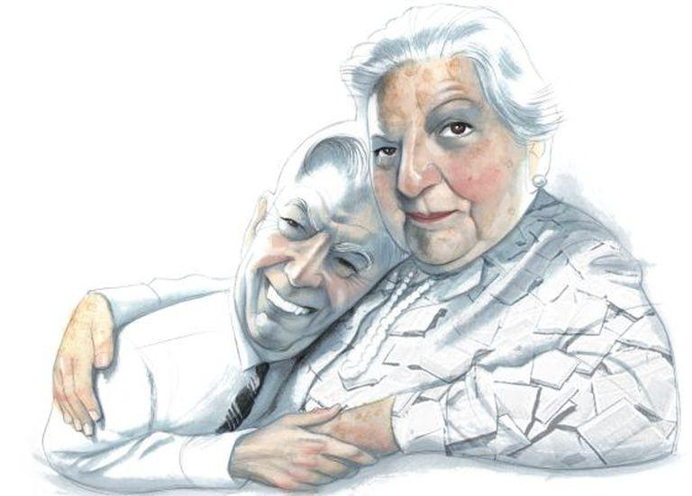 Mario Vargas Llosa e Carmen Balcells, em um desenho de Fernando Vicente de 2010.