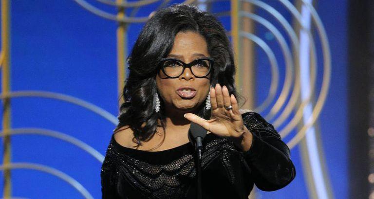 Oprah Winfrey na entrega do Globo de Ouro.