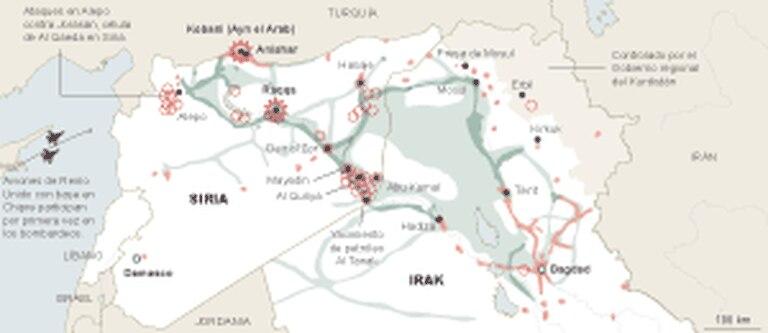 Bombardeios da coalizão contra o EI e Al Qaeda na Síria.