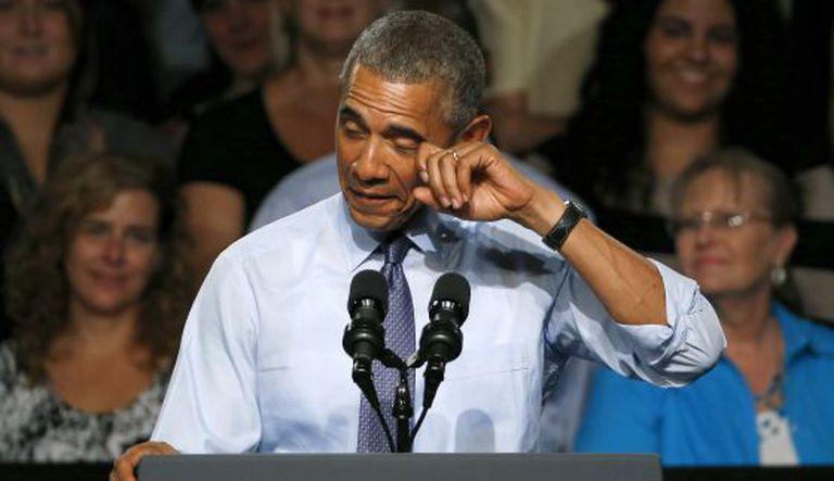 Barack Obama em seu discurso na Universidade Macomb Community.