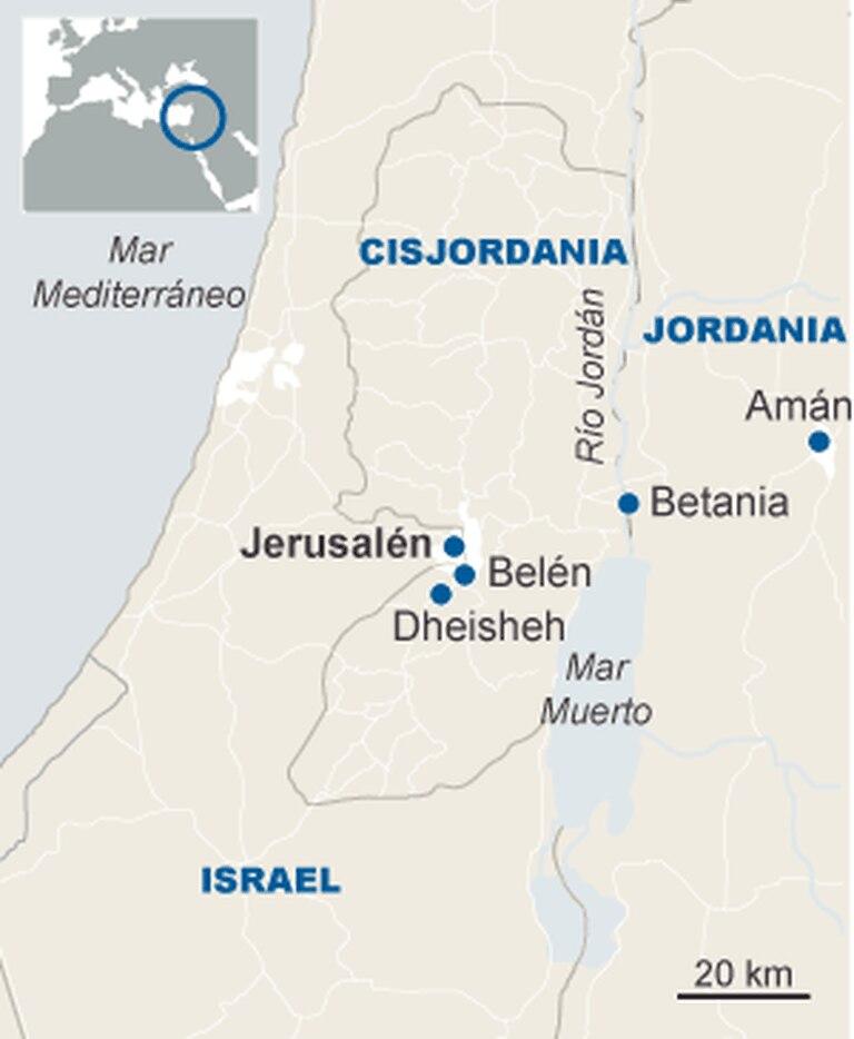 Mapa (em espanhol) dos lugares por onde o Papa passará em sua visita à Terra Santa.