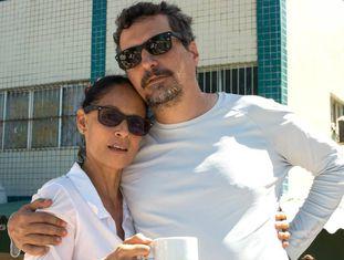 Sonia Braga e Kleber Mendonça nas gravações de 'Aquarius'.